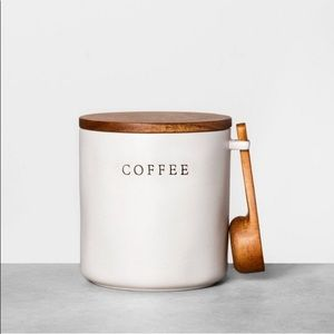 Stoneware coffee canister with wood lid & scoop